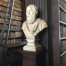 One of many statues in Trinity's library.