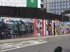 A mural in Camden that represents its industrial and music history.