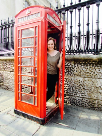 Me pretending the phone booth didn't smell awful